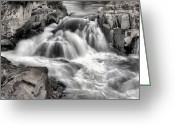 Beltway Greeting Cards - The Fountain Black and White Greeting Card by JC Findley