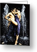 Wet Greeting Cards - The Fountain of Tango Greeting Card by Richard Young