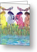 Mother Of Four Greeting Cards - The Four Daughters of Eve Greeting Card by Michael Klein
