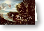 Fairies Greeting Cards - The Four Elements  Greeting Card by Flemish School