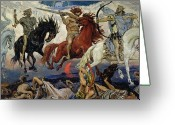 Biblical Greeting Cards - The Four Horsemen of the Apocalypse Greeting Card by Victor Mikhailovich Vasnetsov