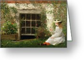 Hat Greeting Cards - The Four Leaf Clover Greeting Card by Winslow Homer