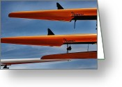 Sculling Greeting Cards - The four sculls Greeting Card by Tom Prendergast