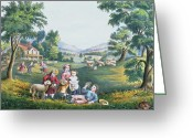 Lambing Greeting Cards - The Four Seasons of Life Childhood Greeting Card by Currier and Ives