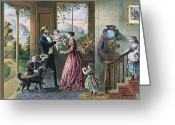 Old Fashioned Painting Greeting Cards - The Four Seasons of Life  Middle Age Greeting Card by Currier and Ives