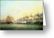 Frigate Greeting Cards - The fourth action off Trincomalee between the English and the French Greeting Card by Dominic Serres