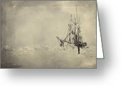 Pioneers Greeting Cards - The Frams Hull Was Built To Stand Greeting Card by Fridtjof Nansen