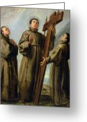 Franciscan Greeting Cards - The Franciscan Martyrs in Japan Greeting Card by Don Juan Carreno de Miranda
