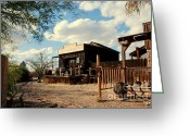 Freight Greeting Cards - The Freight Depot in Old Tuscon Arizona Greeting Card by Susanne Van Hulst