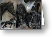 Stallion Greeting Cards - The Friesians In My Head Greeting Card by Caroline Collinson