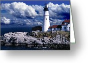 Weather Photographs Greeting Cards - The Front At Portland Head Greeting Card by Skip Willits