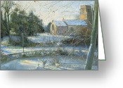 Swans Painting Greeting Cards - The Frozen Moat - Bedfield Greeting Card by Timothy Easton