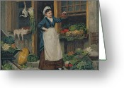 Trader Greeting Cards - The Fruit Seller Greeting Card by Victor Gabriel Gilbert