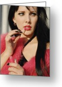 Femme Fatale Greeting Cards - The Fucia Coat - Gloss Greeting Card by Liezel Rubin