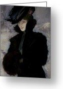 Mink Greeting Cards - The Fur Coat Greeting Card by Bessie MacNicol