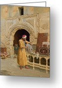 Islamic Greeting Cards - The Furniture Maker Greeting Card by Ludwig Deutsch
