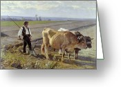 Cattle Greeting Cards - The Furrow Greeting Card by Edouard Debat-Ponsan