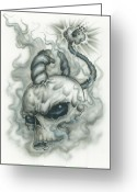 Tattoo Greeting Cards - The Fuse is Lit in Gray Greeting Card by Mike Royal