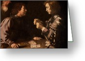 Betting Greeting Cards - The Gamblers Greeting Card by Michelangelo Caravaggio