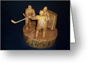 Toronto Artist Sculpture Greeting Cards - The Game Greeting Card by Deverne Rushton