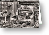 Hotrod Photo Greeting Cards - The Garage Sale Black and White Greeting Card by JC Findley