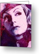Greta Garbo Greeting Cards - The Garbo Pastel Greeting Card by Stefan Kuhn