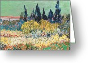 Masterpiece Painting Greeting Cards - The Garden at Arles  Greeting Card by Vincent Van Gogh