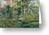 Jardins Greeting Cards - The Garden at Bellevue Greeting Card by Edouard Manet