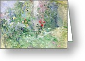 Spring Scenes Painting Greeting Cards - The Garden at Bougival Greeting Card by Berthe Morisot