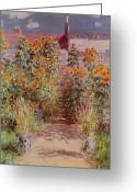 Jardin Painting Greeting Cards - The Garden at Vetheuil Greeting Card by Claude Monet