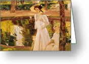 White Dress Greeting Cards - The Garden Greeting Card by Joaquin Sorolla y Bastida