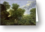 Old Testament Greeting Cards - The Garden of Eden Greeting Card by Nicolas Poussin