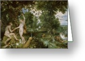 Rubens Painting Greeting Cards - The Garden of Eden with the Fall of Man Greeting Card by Jan Brueghel and Rubens