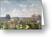 Jardins Greeting Cards - The Garden of the Tuileries Greeting Card by Camille Pissarro