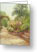 Flowerbed Greeting Cards - The Garden Steps   Greeting Card by Ernest Walbourn