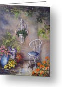 Stucco Walls Greeting Cards - The Garden Wall Greeting Card by Deborah Smith