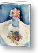 Table Drawings Greeting Cards - The Garden Watering Can Greeting Card by Mindy Newman