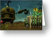 Science Fiction Greeting Cards - The Gardener Greeting Card by Bob Orsillo