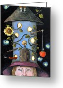 Gnome Greeting Cards - The Gardener Greeting Card by Leah Saulnier The Painting Maniac