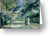Jardin Painting Greeting Cards - The Gardens in Montmartre Greeting Card by Pierre Auguste Renoir