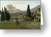 1796 Greeting Cards - The Gardens of the Villa dEste Greeting Card by Jean Baptiste Camill  Corot