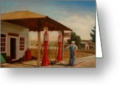 Gaspump Greeting Cards - The Gas Caper Greeting Card by Lance Anderson