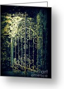 Entrance Door Greeting Cards - The Gate in The Grotto of the Redemption Iowa Greeting Card by Susanne Van Hulst