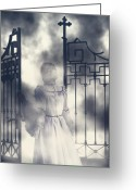 Sinister Greeting Cards - The Gate Greeting Card by Joana Kruse