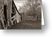 Wooden Barns Greeting Cards - The Gate Greeting Card by Lisa Moore