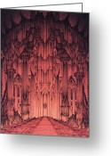 Middle Earth Greeting Cards - The Gates of Barad Dur Greeting Card by Curtiss Shaffer