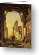 Orientalists Greeting Cards - The Gates of El Geber in Morocco Greeting Card by Francois Antoine Bossuet