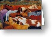 Horses Greeting Cards - The Gathering Greeting Card by Frances Marino