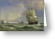 Ship Greeting Cards - The Gathering Storm Greeting Card by Anton Melbye