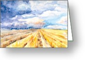 Storm Prints Painting Greeting Cards - The Gathering Storm  Greeting Card by Elisabeta Hermann